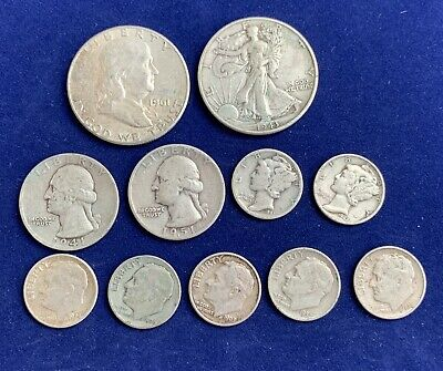 Lot #5 of 11 US SILVER COINS Scrap or Better FRANKLIN WALKING LIBERTY HALF  58g