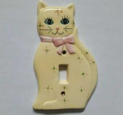 Vintage Porcelain Cat Switch Plate Cover Yellow Pink