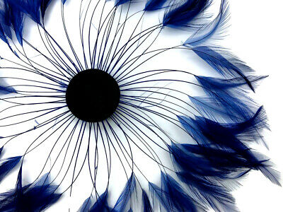 1 Piece - Navy Blue Whole Beaded Pinwheel Stripped Rooster Hackle Feather Plates