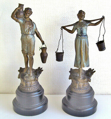 Antique Spelter Statue Metal Figure Figurine pair male female water carrier