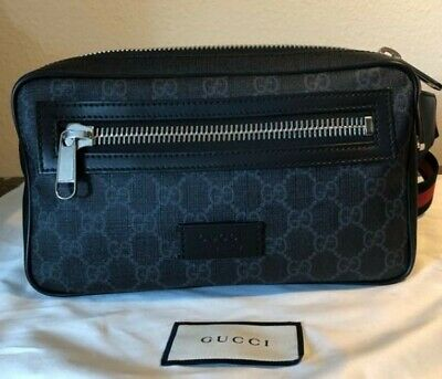 962441194 Gucci GG Supreme Belt Bag AUTHENTIC BARELY USED Men's Small Travel Black  Soft