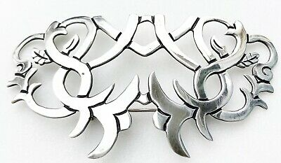 VINTAGE STERLING SILVER ABSTRACT CUTOUT MODERNIST TAXCO MEXICO PIN / BROOCH 14g