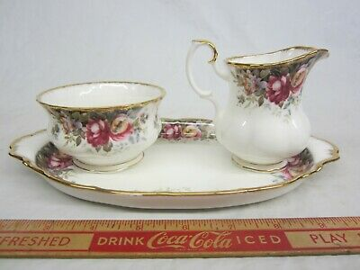 Royal Albert Autumn Roses Cream ,Sugar, Tray Excellent