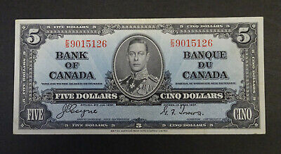 1937 $5 Canadian Banknote, Great condition, EF/AU