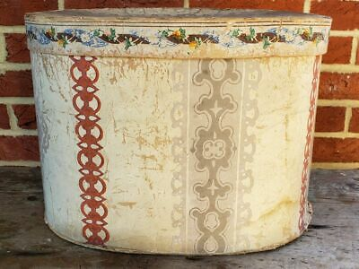 Rare Antique 19th C  Large HAT Paper OVAL WALLPAPER Lidded STORAGE BOX 14""