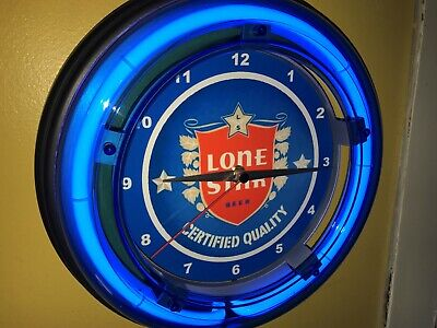 Lone Star Texas Beer Bar Tavern Man Cave Blue Neon Wall Clock Sign3