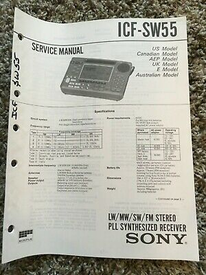 Original SONY ICF-SW55 OWNERS SERVICE MANUALS SCHEMATICS / DIAGRAMS