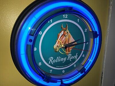 Rolling Rock Beer Bar Tavern Man Cave Blue Neon Wall Clock Sign2