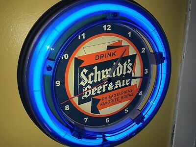 Schmidt's Philadelphia Beer Bar Tavern Man Cave Blue Neon Wall Clock Sign