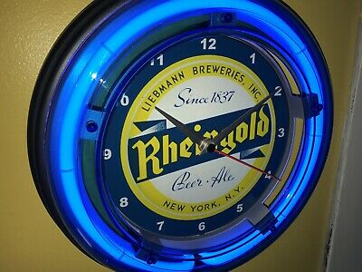 Rheingold New York Beer Bar Tavern Man Cave Blue Neon Wall Clock Sign2