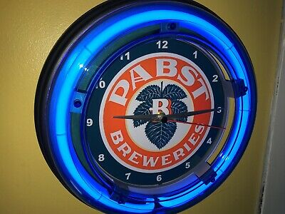 Pabst Brewing Co. OldLogo Beer Bar Tavern Man Cave Blue Neon Wall Clock Sign