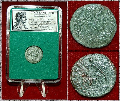Ancient Roman Empire Coin Constantius II Roman Soldier Spearing Fallen Horseman