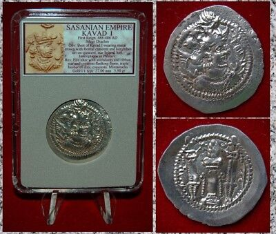 Ancient Coin SASSANIAN EMPIRE KAVAD I Fire Altar First Reign Silver Drachm