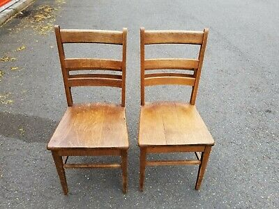 Two Antique / Vintage Chapel Chairs School Chairs With Book / Bible Holder Back