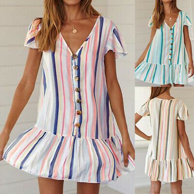Holiday Striped Sexy V-Neck Short Sleeve Ruffle Hem Button Beach Loose Sundress