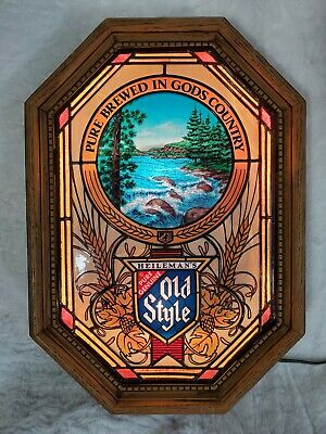 Vintage Heileman's Old Style Beer Illuminated Stained Glass Motion Sign
