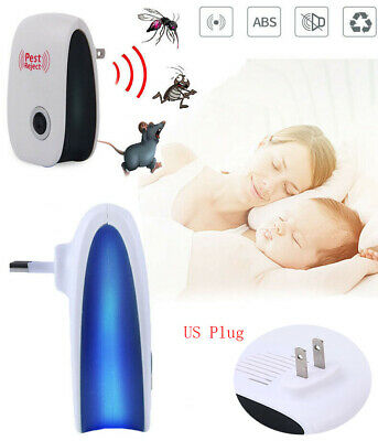 Quiet Electronic Ultrasonic Pest Reject Bug Mosquito Cockroach Mouse Killer AU