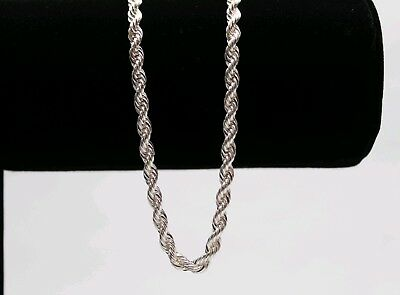 Italian Made 4mm 24inch Diamond cut .925 Sterling SILVER Rope Chain