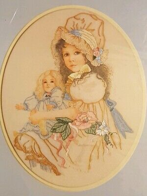 NEW SEALED Sunset Crewel Embroidery Kit Addie with her antique Doll