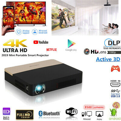 8500 Lumen 4K DLP 3D Home Theater Projector Wifi HD 1080P Android Cinema HDMI SD