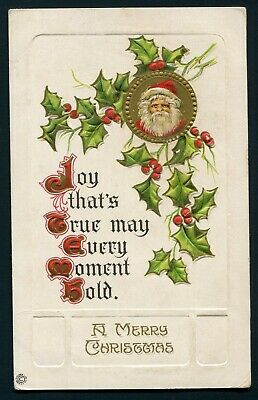 1910's Christmas Postcard - Santa Claus and Holly - Stecher - Embossed