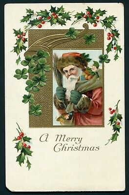 1910's Christmas Postcard - Victorian Santa Claus Carrying Bag of Toys - Germany