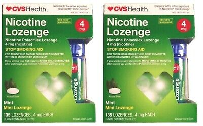 CVS Sugar Free Nicotine Mini Lozenge 4mg Mint (135 pc) Exp 9/20 - 2 New Sealed