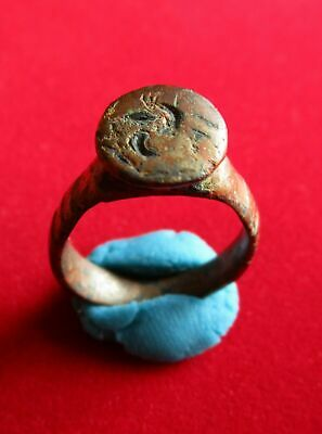 Ancient Roman bronze , engraved ring . IV century