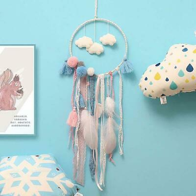 Handmade Cloud Dream Catcher LED with feather wall car hanging ornament Decor