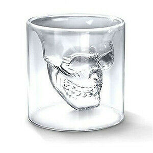 Clear Double Glass Cocktail Skull Shaped Borosilicate Shot Glass