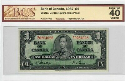 1937 Bank of Canada $1 BC-21a Gordon-Towers Wide Panel EF 40 Original