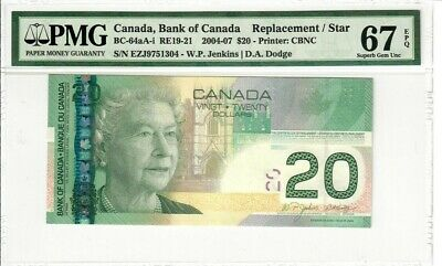 2004 Bank of Canada Printed 2006 $20 Replacement Banknote Superb Gem 67