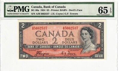 1954 Bank of Canada $2 Devils Face Banknote Gem Uncirculated