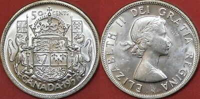 Brilliant Uncirculated 1957 Canada Silver 50 Cents From Mint's Roll