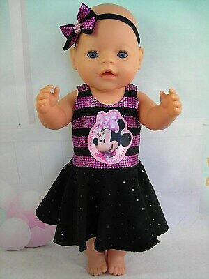 "Dolls clothes for 17"" Baby Born doll~MINNIE MOUSE~BLACK~PINK SEQUIN CIRCLE DRESS"