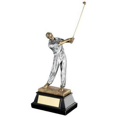 Golfer Trophy Award Bronze Pewter End Of Swing 9.5in FREE Engraving