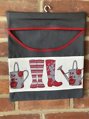 Strong Country Style Peg Bag Grey With Red Wellies & Watering Cans Handmade
