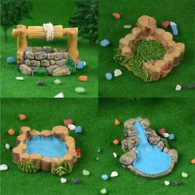 Vintage Mini Fairy Garden Resin Water Well Pool DIY Landscape Crafts Accessory
