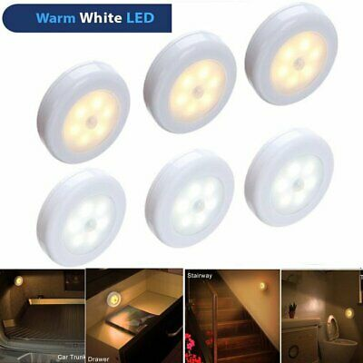 6 LED Motion Sensor Battery Wall Night Light Closet Wardrobe Cabinet Stair Lamp