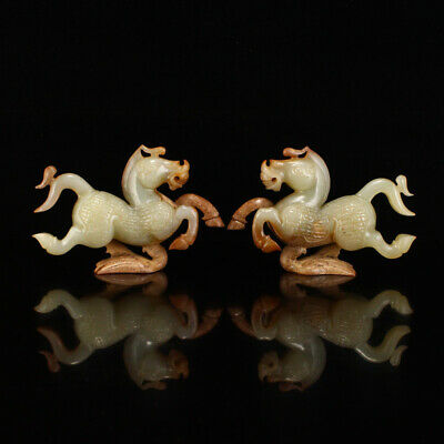 A Pair Vintage Chinese Hetian Jade Statue - Horse & Flying Swallow