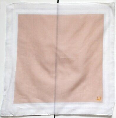 Dunhill Designer Pocket Square Handkerchief White Taupe Brown