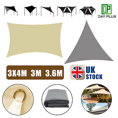 Waterproof Sun Shade Sail Cloth Outdoor Canopy Awning Beige Grey 3M 3.6M 4M  UK