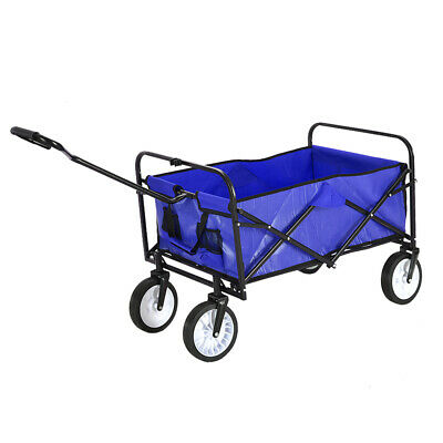 Blue Foldable Pull Along Wagon Cart Trolley Festival Camping Garden XL Cart UK