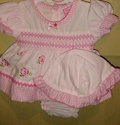 PINK Premature Baby Girl Dress Set Hat Knickers Reborn first size 3-5lb