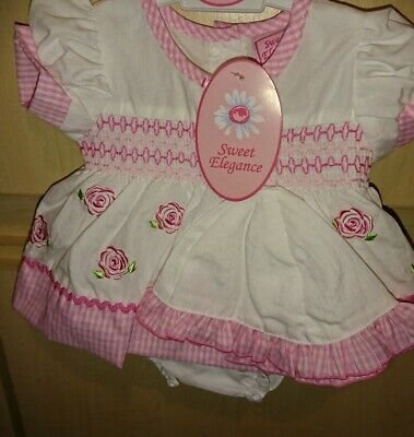 White/pink Premature Baby Girl Dress Set Hat Knickers Reborn first size 3-5lb