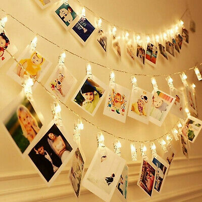 30/40 Photo Window Hanging Peg Clips LED String Lights Party Fairy Decor UK MST