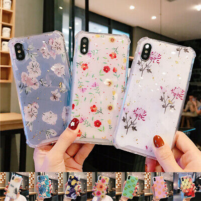 For iPhone XS Max XR X 8 7 6s Plus Bling Foil Leaf Plant Pattern Soft Case Cover