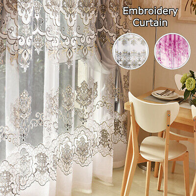 Embroidery Flowerl Panels Net Voile Curtains Ring Top Window Curtain Home Decors