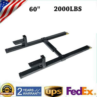 """2000lbs 60"""" Clamp on Pallet Forks Bucket Skid Steer Tractor w/Stabilizer Bar"""