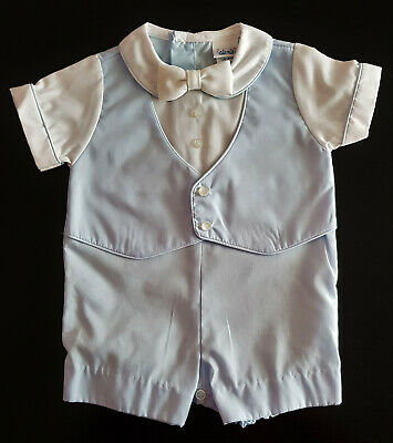 VINTAGE 1970's BABY BOY'S PALE BLUE ONE PIECE SUIT, SIZE 6mths - MADE IN USA